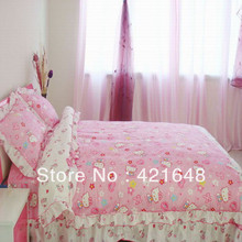 Free shipping! 100% cotton Hello Kitty 4pcs Children Bedding Set Twin/Full/Queen/King Size bedclothes/bed linen