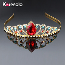 Buy New Gold Color Bridal Tiaras Crowns Red Crystal Rhinestone Pageant Prom Bridal Wedding Hair Accessories Headband Wedding Tiara for $3.94 in AliExpress store