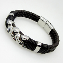 Hot Sell Handmade Genuine Leather Weaved Double Layer Man Bracelets Casual/Sporty Bicycle Motorcycle Delicate Cool Men Jewelry
