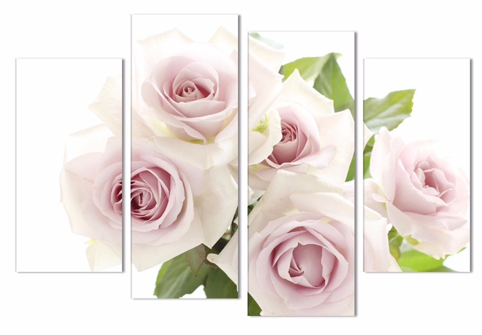 2016 Sale New No Fashion 4 Panel Wall Art Oil Painting Light Numbers on House Canvas Print Rose Flower decor(China)