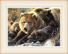 3d Diy Diamond Painting brown bear family 2016Needlework Embroidery Resinstone Diamond Cross Stitch Mosaic Decoration
