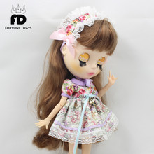 for 1/6 doll, normal doll, joint doll, icy, jecci five, licca body, 1/6 30cm doll flower dress with headdress