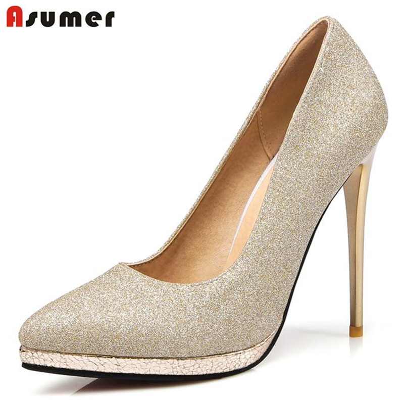 Asumer Platform women shoes pumps solid pointed toe high heels shoes fashion big size 33-47 wedding party shoes comfortable<br>
