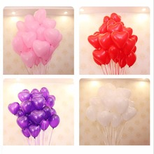 10pcs Heart Shape Weeding Ballons Romantic 12 Inches Love Latex Helium Balloons Valentines Day Birthday Party Inflatable Balloon(China)