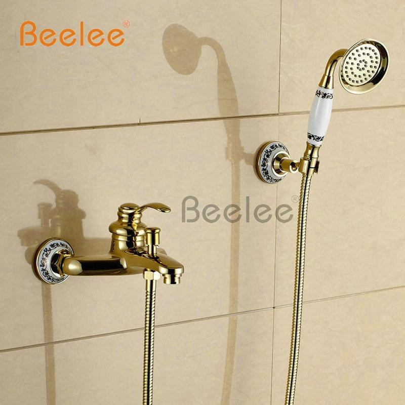 Beelee BL5201G Wall mounted golden Brass Bathroom Bathtub Faucet Handheld Shower Head Shower Faucet Mixer Tap<br><br>Aliexpress