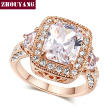ZHOUYANG Top Quality Big Gem Ring Rose Gold Color Ring Made with Genuine Austrian Crystals Full Sizes Wholesale ZYR300 ZYR301(China)