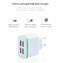 Universal protable Mobile phone charger EU 5V/4A LED 4USB For Home Phone Travel AC Wall Charging Charger Power Adapter Ap 26
