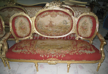 Antique Set of sofa and chairs, Antique handmade living room furniture, Aubusson sofa cover, woolen material Artificial carving(China)