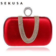 U Brand Name Design Rhinestones Women HANDBAGS With Finger Ring Diamonds Metal Purse Day Clutches Bag For Wedding Wallets