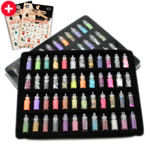 Nail art charms kit contains 48 different random nail art pearls/sequin/glitter powder/acrylic/rhinestone + 2pcs Christmas decal