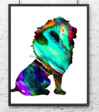 2015 new kids children wall art decor animal lion Painting Print on canvas art home Decor Modern Abstract green wall art picture