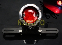 Universal Motorcycle 12V LED Tail Light Glass Lens Antique Lamps XS650 Bobber Cafe Racer Custom Mini Bracket