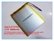 best battery brand 3.7V,4000mAH,[427491] ( polymer lithium ion / Li-ion battery ) for tablet pc,cell phone,speaker;power bank,Th
