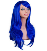 QQXCAIW Long Curly Wig Cosplay Costume Women Dark Blue 70 Cm High Temperature Synthetic Hair Wigs