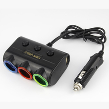MAYITR High Quality Car Dual USB 3 Way Cigarette Lighter LED Socket Splitter Power Charger Adapter Cable Length 70cm(China)