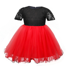 Pretty Baby Girl Party Wear Dress For Girls Little Princess Tutu Dresses Black&Red Toddler Girl Dress Kids Baby Frocks Designs(China)