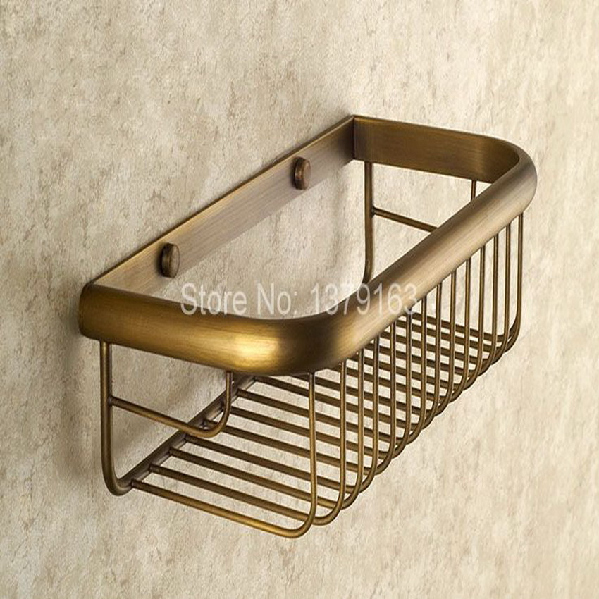 30cm Vintage Antique Brass Wall Mounted Bathroom Accessory Single Tier Soap / Sponge Corner Shower Storage Basket aba523<br>