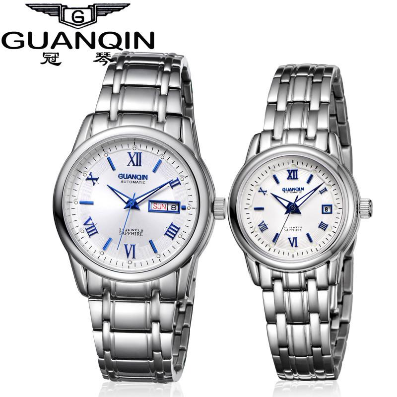 1 Pair GUANQIN Lovers Mechanical Watches Couple Automatic Watch Men Women Clock Auto Date Luminous Waterproof Brand Watch Men (5)