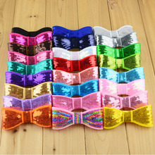 64pcs/lot 32C 3.94 Inch kids Boutique Bowknots Embroidered Sequin Bows girls DIY Headbands Hair Accessories HDJ25