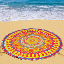 Bohemian 150cm Multifunctional Women Summer Chiffon Shawl Round Type Geometric Retro Towel Swim Beach Yoga Mat T35(China)