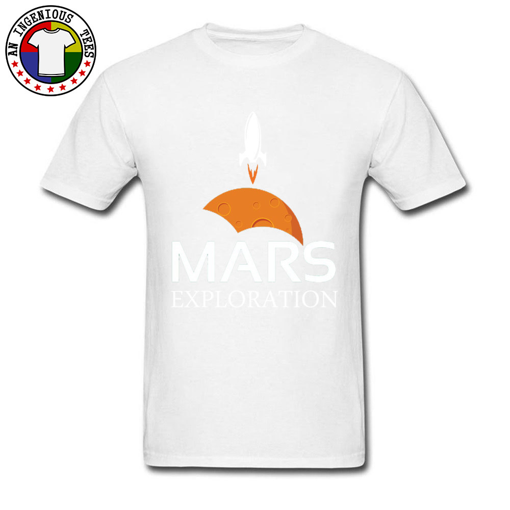 Mars-Exploration-Space-Rockets Design Tops Shirt Short Sleeve for Men All Cotton Autumn Crew Neck T Shirts Normal Tees Slim Fit Mars-Exploration-Space-Rockets white