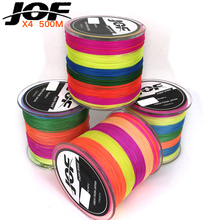 JOF Brand Braided Fishing Line Multicolor 500m Smooth Multifilament PE 4Strands Braided Cord 20-100LB Strong Japan Technology(China)