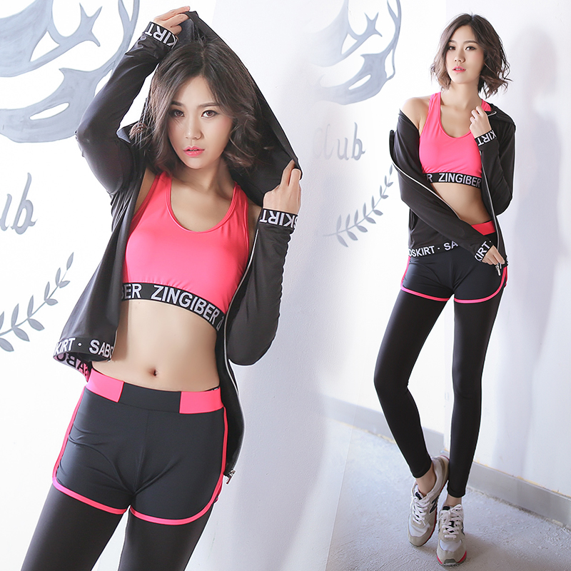 High Quality 4 Pieces in 1 Set Yoga Set Jacket &amp; Bra &amp; Pants &amp; Short Gym Clothes Sport Wear Training Suit Running Outdoor Jog<br><br>Aliexpress