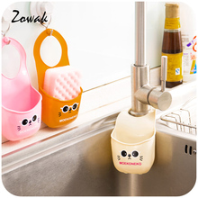 Sink Hanging Storage Bag Cute Basket Plastic Bathroom Kitchen Organizer Box Drain Faucet Sponge Holder caixa organizador Gadget