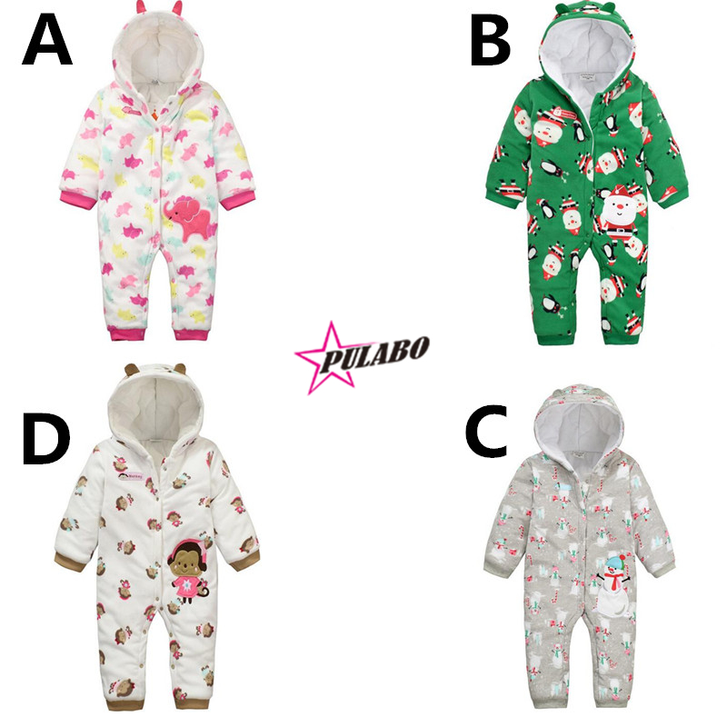 new brand Baby Rompers Winter fall Climbing Clothes baby Boys Girls Warm Romper kids cartoon print Hooded Outwear<br><br>Aliexpress
