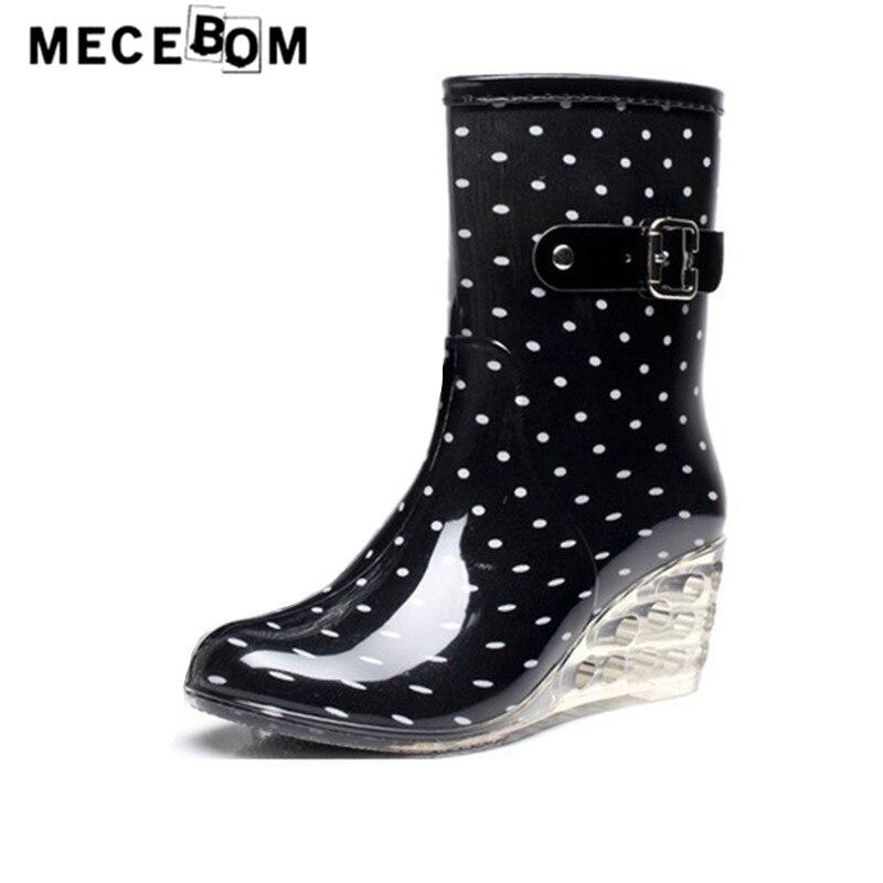 Women rainboots fashion polka dot wedge heel ankle boots waterproof slip-on shoe women transparent high heel shoes 512w<br>