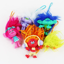 5pcs/lot 2016 Movie Trolls Figure Toy Poppy Branch DJ Suki Guy Diamond Mini Keychain Pendants