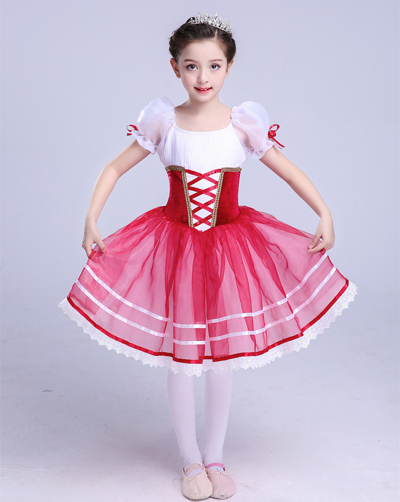 Giselle Romantic Ballet Tutu For Girls Ballerina Kids Wine Red Ballet Dress  Professional Tutu Long Gymnastic Dress Ballerine