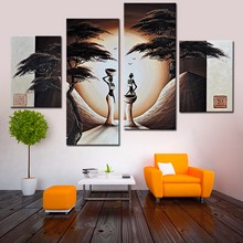 4 Pcs/Set No Framed Abstract Landscape Oil Painting African Women Paintings Canvas Art Hand Painted Modern Canvas Oil Painting