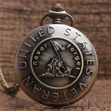 Retro Bronze Never Forget UNITED STATES VETERAN Quartz Pocket Watch with Chain Fashion Sculpture Mens Pocket Watch Womens Gifts