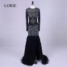Black Evening Party Dresses With Crystals 2019 Abendkleider Feathers Bling Bling Mermaid Prom Long Dresses Weddings Formal Gowns(China)