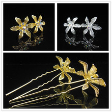 10 pcs / lot New Gold color Plated Flower Crystal Rhinestones Prom Wedding Bridal Girl Hair Pins Hair Accesory