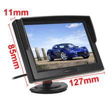 "5"" Digital Color TFT 16:9 LCD Car Reverse Monitor with 2 Bracket holder for Rearview Camera DVD VCR Multi-language Russian K917"