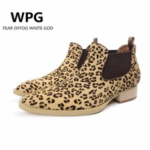 WPG 2017 new Europe Latest Leopard styles Men's Scrub leather Martin High quality Olive green Chelsea boots Winter shoes botas(China)
