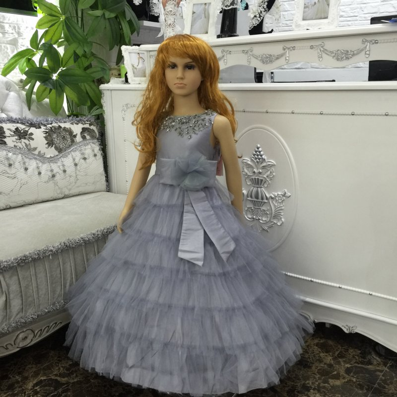 2-10 Years Kids Evening Gown Tutu Ankle-Length Girl party Dress Lace Appliques Prom Gowns Cheap Kids Formal Dress Taffeta  5205D<br>