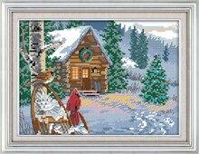 Dreampattern зимний домик вышивка крестиком комплект 14ct узор канва DMC вышивать ручной рукоделие рукоделия материал(China)
