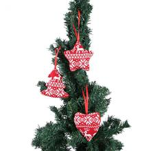3Pcs/lot Christmas Tree Ornaments Linen Red Heart Tree Star 2017 Home Decor Merry Christmas Ornament Decoration Wholesalers(China)