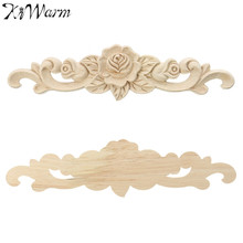 KiWarm 1PC New Retro Unpainted Wood Carved Decal Corner Applique Frame For Home Furniture Wall Cabinet Door Decorative Crafts