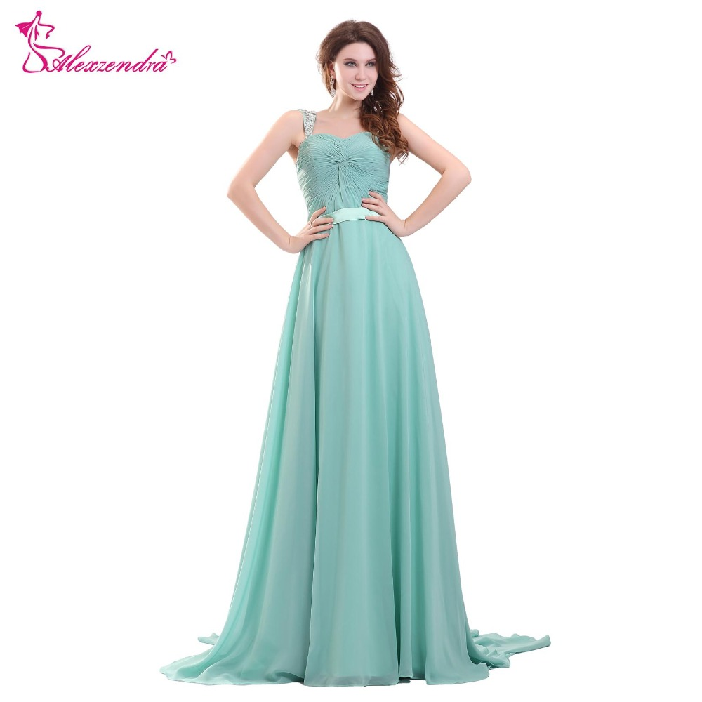 Alexzendra Long Chiffon Mother of the Bride Dresses with Beaded Straps Evening Dress Party Gown