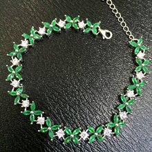 B      925 sterling silver with natural emerald bracelet with female