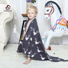 Parkshin  Abstract Elk Double Deck Blanket 100% Cotton Cute Knitted Plaid For Sofa/Bed/Home 2 size Blanket