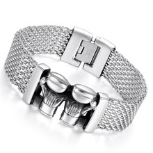 Boniskiss Double Gloves Men Stainless Steel Bracelet Silver Men Jewelry Accessories Male Wristband Pulseira(China)