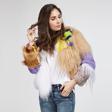 Real fox fur coat women natural lamb fur mink fur spliced jacket Female Winter Autumn Genuine Leather rabbit Fur Coat(China)