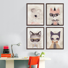 Popigist Watercolor Cartoon Animal Thieves Fly Mouse A4 Canvas Painting Art Print Poster Picture Baby Kids Room Home Decoration