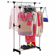 Clothes Stand Rack Double Bar Adjustable Garment Hanger Clothing Display Convenient Wheels High and Low Bars Saving Space(China)