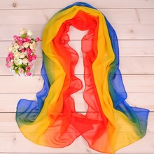 Summer Long Chiffon Silk scarves Designer Woman Fashion New Design Tricolor stripe print scarves(China)